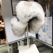 Blue Fox Trapper Hat With Black Deerskin Leather $250