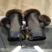 Fingerless Gloves With Sheared Beaver Lining And Otter Trim $120